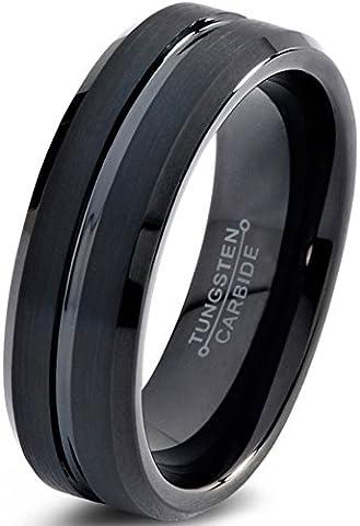 Tungsten Wedding Band Ring 6mm for Men Women Comfort Fit Black Enamel Beveled Edge Polished Brushed Lifetime Guarantee Size 49