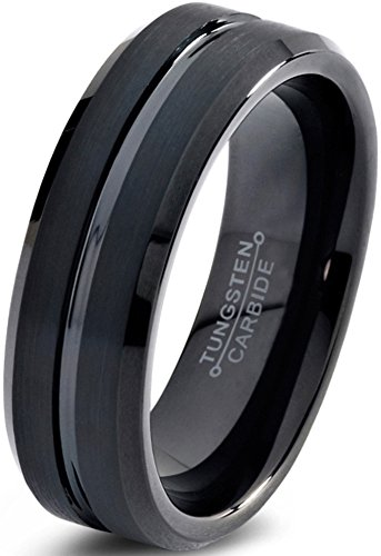Tungsten Wedding Band Ring 6mm for Men Women Comfort Fit Black Enamel Beveled Edge Polished Brushed Lifetime Guarantee