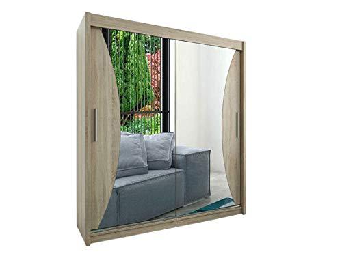 Kryspol Schwebetürenschrank Monaco 200 cm mit Spiegel Kleiderschrank mit Kleiderstange und Einlegeboden Schlafzimmer- Wohnzimmerschrank Schiebetüren Modern Design (Sonoma) -