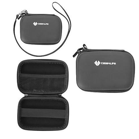 Case4Life Schwarz Hardcase Kameratasche für Canon IXUS 1000 HS, 105, 107, 110 IS, 1100 HS, 115 HS, 117 HS, 125 HS, 130, 132, 135, 140, 200 IS, 210, 220 HS, 230 HS, 240 HS, 255 HS, 300 HS, 310 HS, 500 HS, 510