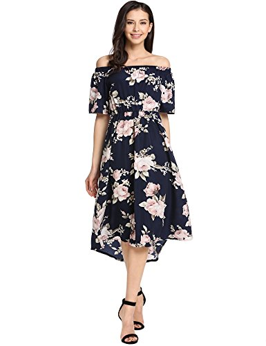 Meaneor Pin-up Robe Femme Chic Gala Rétro Bleue Marine L