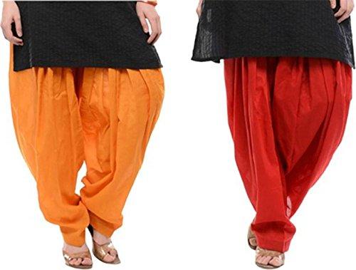 I Shop Traditional Patiala Salwar 100% Cotton Free Size (ORANGE_RED)