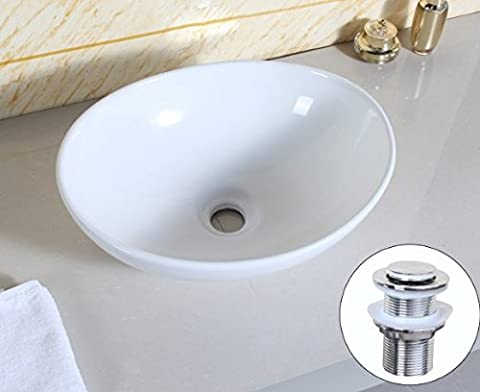 CHUANGKE Bathroom Countertop Oval Top Ceramic Basin Sink With Pop-up Drain Price for Sets