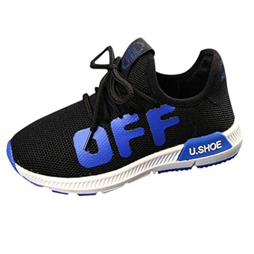 Turnschuhe Kinder,Sannysis Kleinkind Kinder Sport Laufschuhe Babyschuhe Jungen Mädchen Mesh Weiche Sohle Schuhe Turnschuhe (34 EU, Schwarz) - 9t Schwarze Schuhe