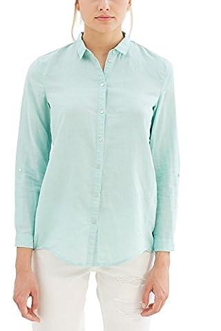 ESPRIT Damen Regular Fit Bluse 037EE1F025, Gr. 40, Grün (Light Aqua Green 390) (Aqua Ärmel)