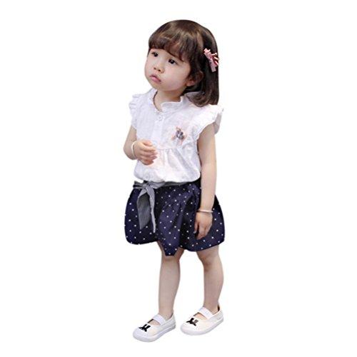 Hirolan 2 Stück Jogginganzug Outfits Säugling Mädchen Schöne Babykleidung Bogen Punkt Drucken Oberteile Weste + Shorts Kinderbekleidung Blumendruck Sommerkleider (18Monate /90cm, Rosa)