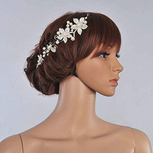 Tinksky Crystal Rhinestones Faux Pearl Decor Flower Style Women's Bridal Hair Band Headband Tiara