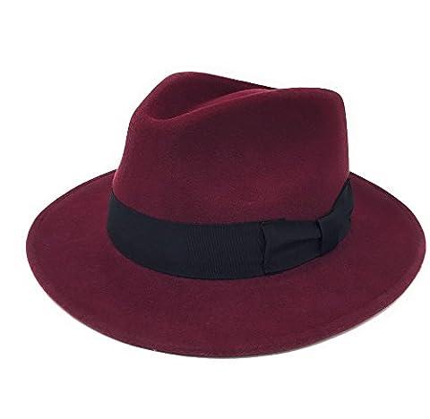 Hommes Fait À La Main 100% Wool Feutre Indiana Style Froissable Chapeau Borsalino - Bordeaux, Small - 55cm