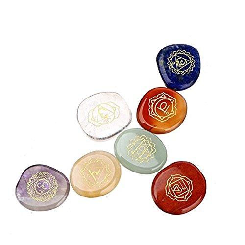 Charminer - Juego de 7piedras de chakras, cromoterapia, cristal sanador con hermosas piedras con chakras grabados, símbolos holísticos, equilibrio