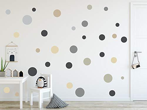 timalo® 120 Stück Wandtattoo Kinderzimmer Kreise Pastell Wandsticker - Aufkleber Punkte | 73078-SET12-120