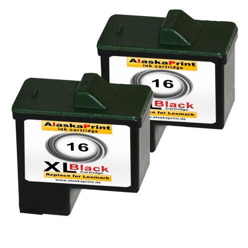 Premium 2x Kompatible Druckerpatronen Als Ersatz für Lexmark 16xl Schwarz Black BK für X1100 X1110 X1130 X1140 X1150 X1155 X1160 X1170 X1180 X1185 X1190 X1195 X1196 X1200 X1250 X1270 X1290 X2225 X2230 X2250 X72 X74 X75 X75 M Z13 Z23 Z23 E Z24 Z25 Z25 L Z33 Z34 Z35 Z503 Z510 Z511 Z512 Z514 Z515 Z516 Z517 Z52O Z601 Z602 Z603 Z605 Z611 Z612 Z614 Z615 Z617 Z640 Z645 Z717 Z817 Z819 2x16lex (Lexmark Z600)
