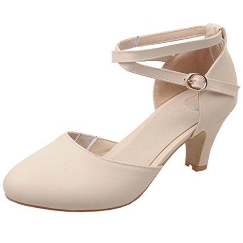 Artfaerie Damen Kitten High Heels Sandalen mit Schnalle und Riemchen Cross Strap Mary Jane Pumps Süße D'orsay Schuhe Strap Mary Jane Pump