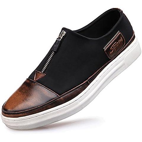 Hombres de zapato de verano/Zapatos del tablero/ zapatos de los hombres/ cepillo de los zapatos de cuero/Cremallera encaje