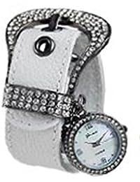 Ginebra hebilla CZ watch-white-gunmetal