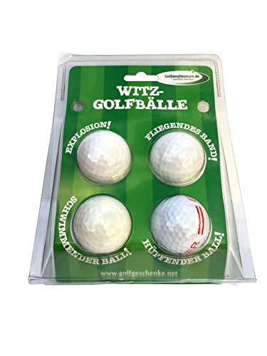 CEBEGO Golf Jokeballs 4-er-Set Golfgeschenke witzig im Golfballset,4 funny Golfballs eiern, Explodieren, Jet Streamer & schwimmend