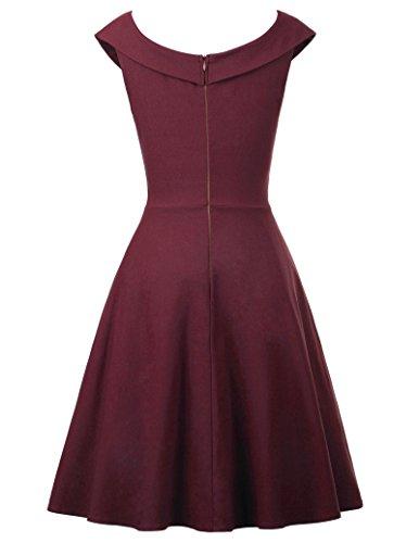 Belle Poque Rockabilly Kleid Damen Festliche Kleider Retro Kleid Knielang Kleid BP315-1(Weinrot)