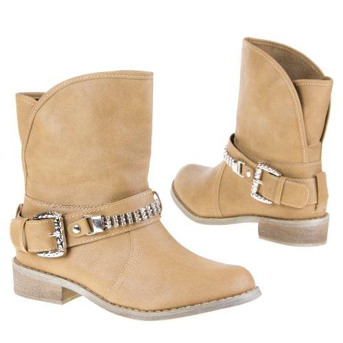 Damen Schuhe, B129, STIEFELETTEN Khaki