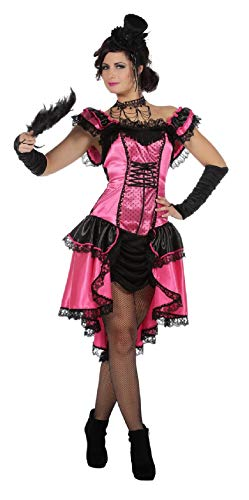 Kostüm Western Damen Country - narrenkiste W4263-44 pink-schwarz Damen Saloonlady Burlesque Kostüm Can Can Kleid Gr.44