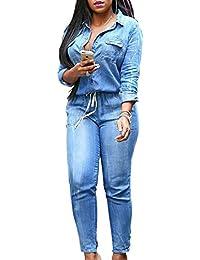 36f66c011524 YACUN Femme Combinaison boutonnée pour Combinaison Denim Jeans Bodysuit