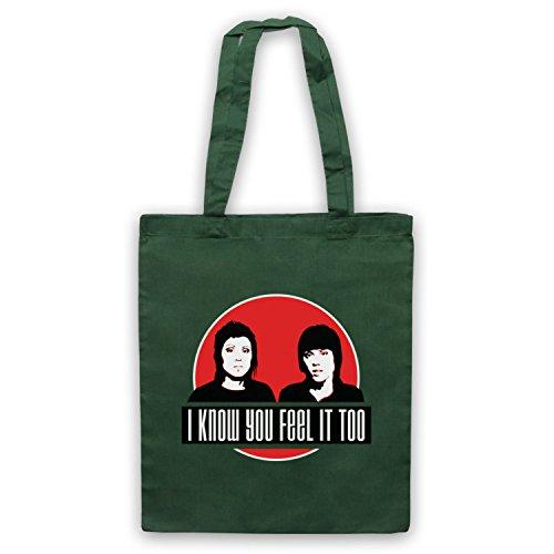 Inspiriert durch Tegan & Sara Hell Inoffiziell Umhangetaschen Dunkelgrun