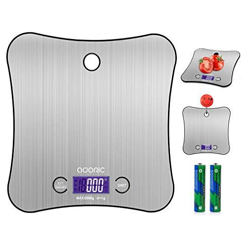 ADORIC Balance Cuisine Electronique Balance de Précision 5kg/1g, Acier Inoxydable Tactile Sensible, Écran LCD Grande Taille Accrochable Forme Papillon, Balance echelles