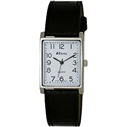 Ravel Large Case Fashion on PU Strap Women's Quartz Watch with White Dial Analogue Display and Black Plastic Strap R0120.02.1