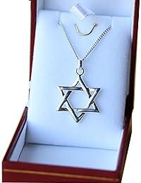 Pendentif etoile juive de david avec chaine en véritable Argent Massif 925  collier 45cm pour femme b9f85f8fe7d