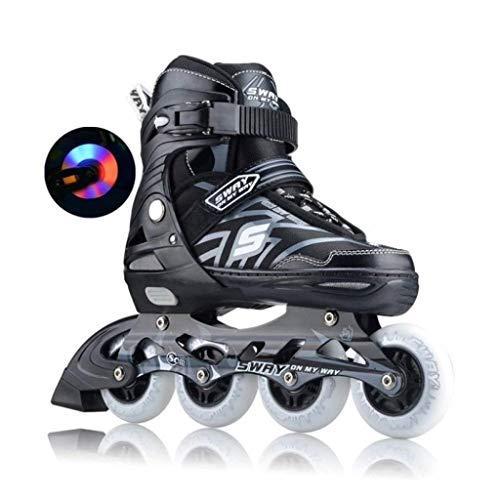 Unbekannt No Brand Inline Skate Roller Skates Skates Personen Männer Kinder und Frauen in Linie Schuhe Verstellbare Blitzschuhe S(EU 31-EU 34) Black2
