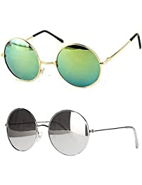 Younky Unisex Combo Offer Pack Of UV Protected Round Stylish Silver Mercury Sunglasses For Men Women Boys & Girls...