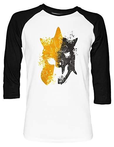 aseball T-Shirt 2/3 Ärmel Herren Damen Weiß Schwarz ()
