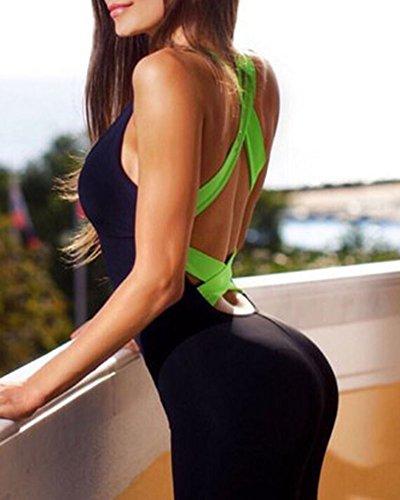 Femme Legging de Sport Combinaison pour Fitness Jogging Yoga Vert foncé