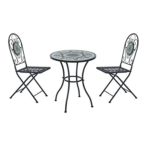 Outsunny 3pc Bistro Set Metal Dining Set Mosaic Garden Table 2 Seater Folding Chairs Patio Furniture Outdoor