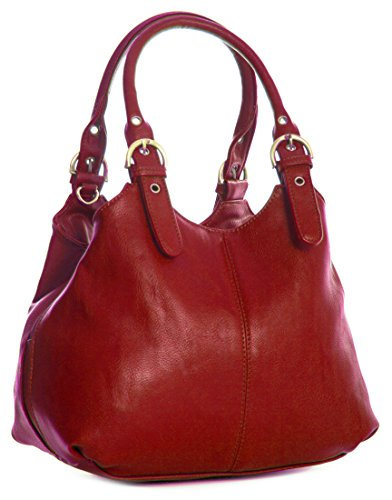 Big Handbag Shop, Borsa a mano donna Rosso (Rosso scuro)