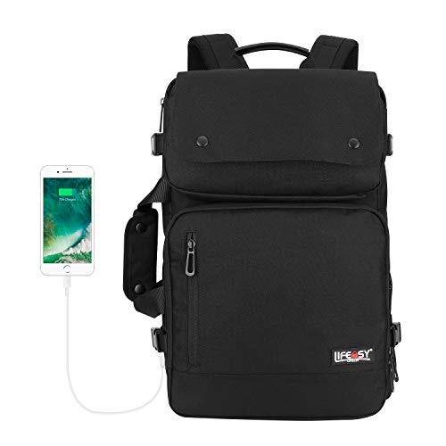 Lifeasy Laptop Rucksack,15,6-17,3 Zoll Business Notebook Rucksack Canvas Schulrucksack Reiserucksack mit USB Ladeanschluss,Wasserdicht Anti-diebstahl Daypack für Herren Damen (Reins Schwarz)