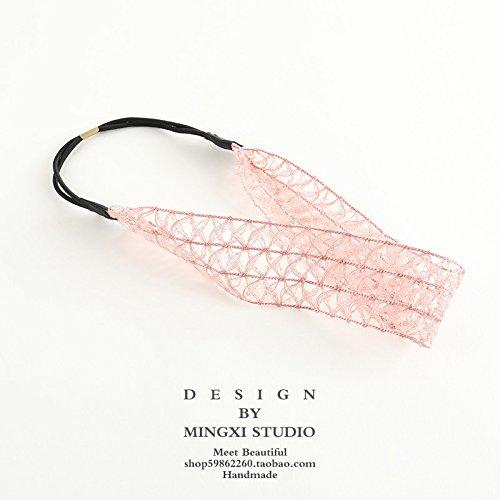 MultiKing Stirnband Kopfschmuck Haarband koreanischen Ribbon elastischer Bügel Wilden Mädchen Retro waschen Kopfbedeckungen Breitseite, Pale pink (Pale Pink Ribbon)