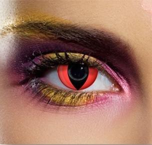 84510 Kontaktlinsen zwei linsen (1 Paar) farbige rot vampir dämon katze leuchten im dunkel halloween kostüme neu