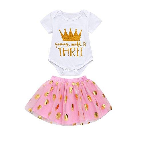 2 STÜCK Infant Baby Suit Mädchen Kleid Toldder Krone Brief Tutu Rock + Overall Strampler Set Outfit Party Kleid Minikleid Festkleid ABsoar - Rock-krone