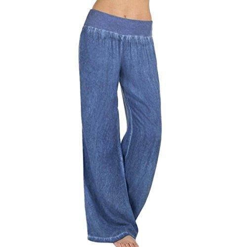Yoga Hosen Damen,TUDUZ Frauen Beiläufige Hohe Taillen Elastizitäts Denim Weites Bein Palazzo Hosen Jeans Hose (Blau, XXL)