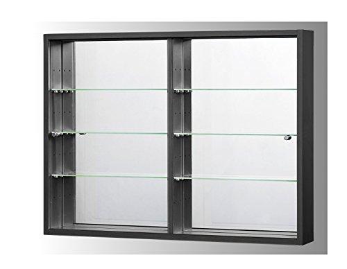 Sammlervitrine Glasvitrine Sammelvitrine Hängevitrine Vitrine Schwarz Spiegel Schaukasten Glasboden 375 x 70 x 4 mm