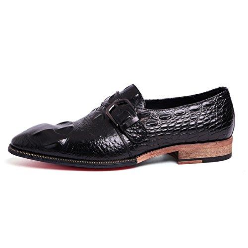 GRRONG Chaussures En Cuir Véritable Banquet En Cuir Pour Hommes D'affaires Black
