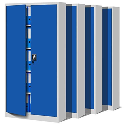 Jan Nowak by Domator24 4er Set Aktenschrank C001 Büroschrank Metallschrank Werkzeugschrank 4 Fachböden Flügeltüren Pulverbeschichtung Stahlblech 185 cm x 90 cm x 40 cm (grau/blau)