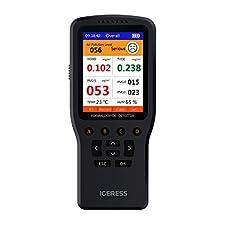 Wissen, was in der Luft Sie atmen - IGERESS multifunktionale Luftqualität Detektor, Formaldehyd-Monitor TVOC (einschließlich Benzol) Testen PM2.5 / 10 / 1.0 / TEM / HUM mit Echtzeit-Luftqualität Datensatz und Analyse, Smart Time Display und HCHO Entf...