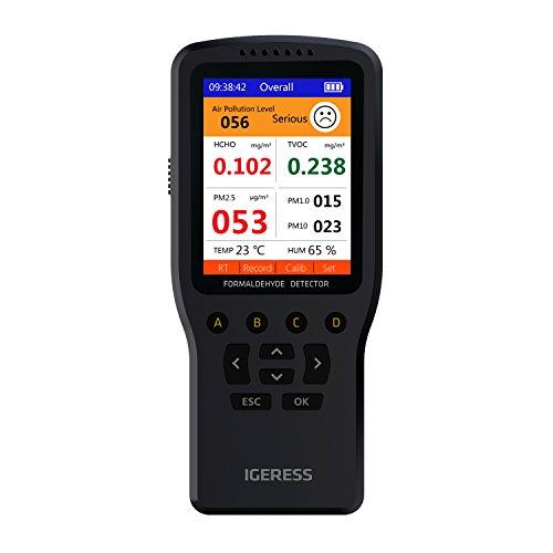 Monitoraggio della qualità dell'aria interna IGERESS Rivelatore Test accurato di formaldeide (HCHO) TVOC PM2.5 / PM1.0 / PM10 Testing Inquinamento della qualità dell'aria con
