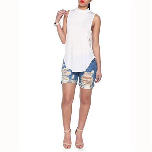 Top sans manches Chemisier, Reaso Femmes Summer Vest Débardeurs Shirt Blanc