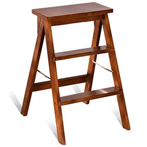 HBWJSH Massivholz Tritthocker/Home Küche Klappholz Leiter Wohnzimmer Hocker Portable Klappstuhl Leiter Dual-Use alle Massivholz Multi-Funktion einfach zu DREI Optionen zu SPE (Leiter Multi-funktion)