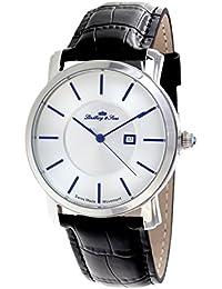 Lindberg & Sons LSSM84 - Reloj de pulsera con fecha analogico para hombre, calibre suizo, con correa de cuero negro
