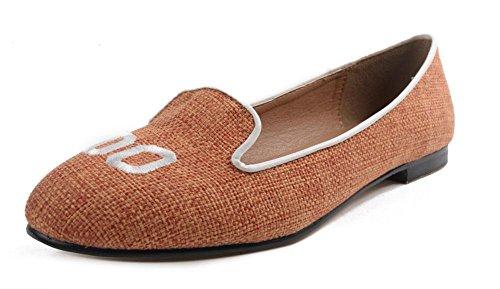 SHINIK Damen Flache Schuhe Sen Weiblich Neue Stickerei Buchstaben Niedrige Ferse Frauen Runde-Toe Flache Schuhe Sandalen Geschlossenen Zehen Pumps Orange Schwarz Orange