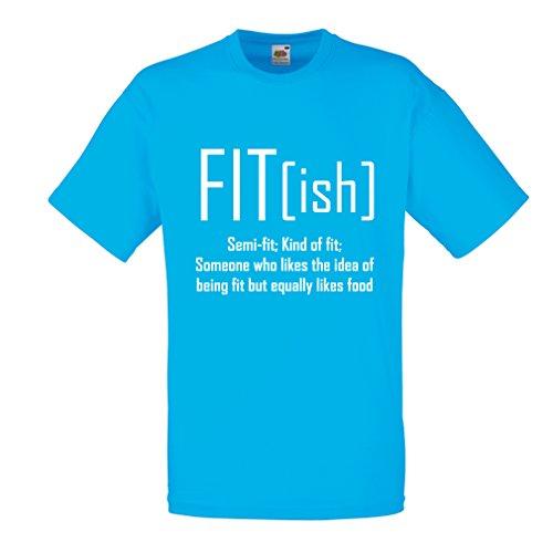 Männer T-Shirt Fit - Ish Definition. Übung - Training - Turnhalle, sarkastische Geschenkidee, lustige Gewichtsverlust Sprüche (XX-Large Blau Weiß) Finesse-snap