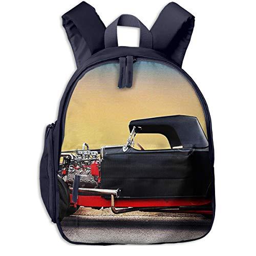 Kinderrucksack Amerikanisches Hot Rod Auto, Schulrucksack für Mädchen und Jungen Schultasche Schulranzen Teenager Backpack Daypack Freizeitrucksack Kinder Rucksack -