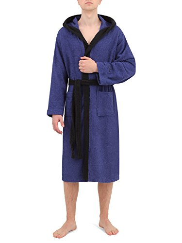 Di Ficchiano DF-30 Unisex Bademantel Navy.Blue/Aquarius Gr. XL